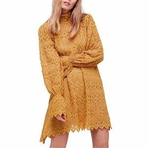 Free People Simone Mustard Open Knit Mini Dress